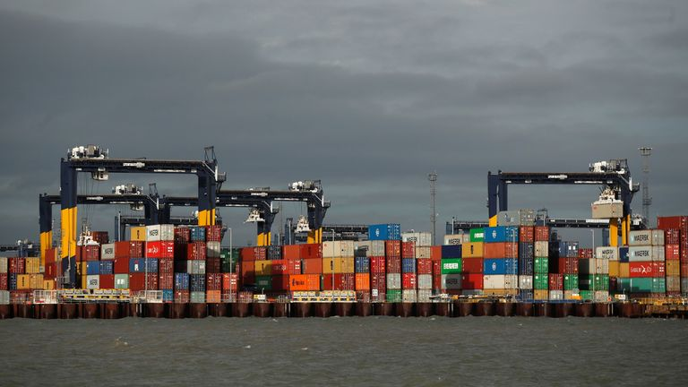 Port workers in Felixstowe have had to deal with thousands of containers of PPE occupying storage space