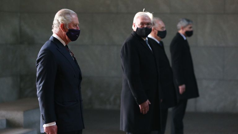 The Prince of Wales (left), President Frank-Walter Steinmeier (second from left) stand with dignitaries at the Neue Wache Central Memorial in Berlin