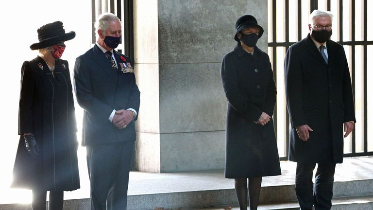 From left: The Duchess of Cornwall, The Prince of Wales, Elke Buedenbender and her husband, President Frank-Walter Steinmeier at the Neue Wache Central Memorial in Berlin