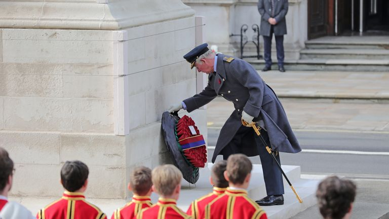Prince Charles laid a wreath of his own and one on behalf of the Queen
