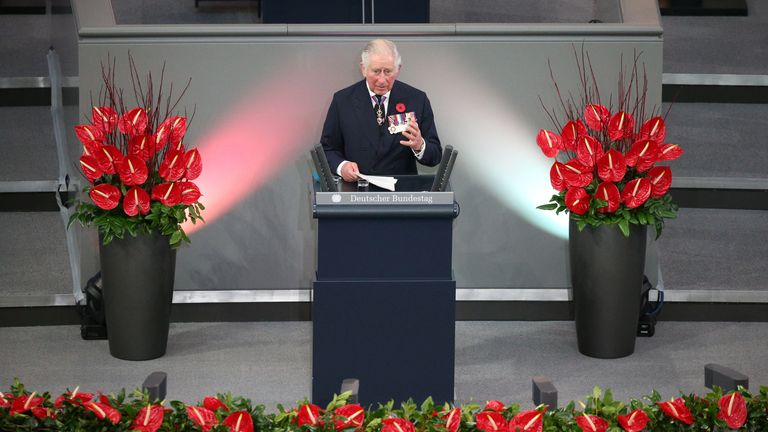 Prince Charles spoke of the UK and Germany's shared values