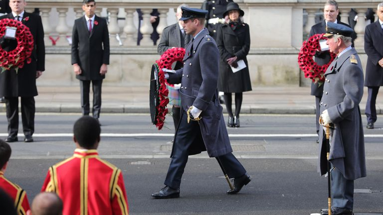 Prince William laid a wreath at the Cenotaph