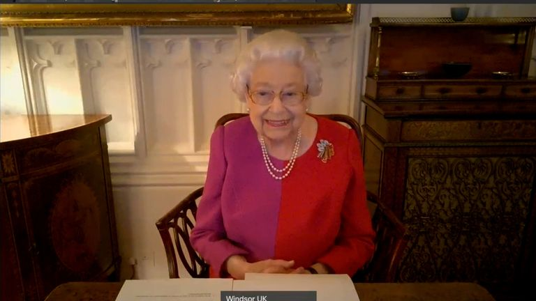 The Queen on a video call with Len Peters, Ruy Santos and Nikoletta Polydorou
