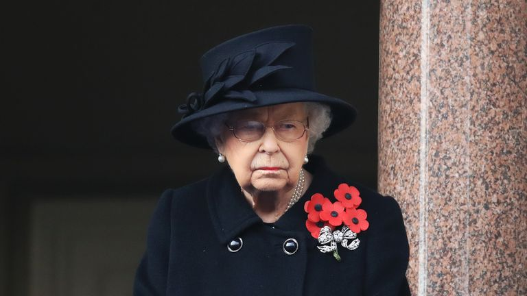 Queen Elizabeth II during the Remembrance Sunday service at the Cenotaph, in Whitehall, London.