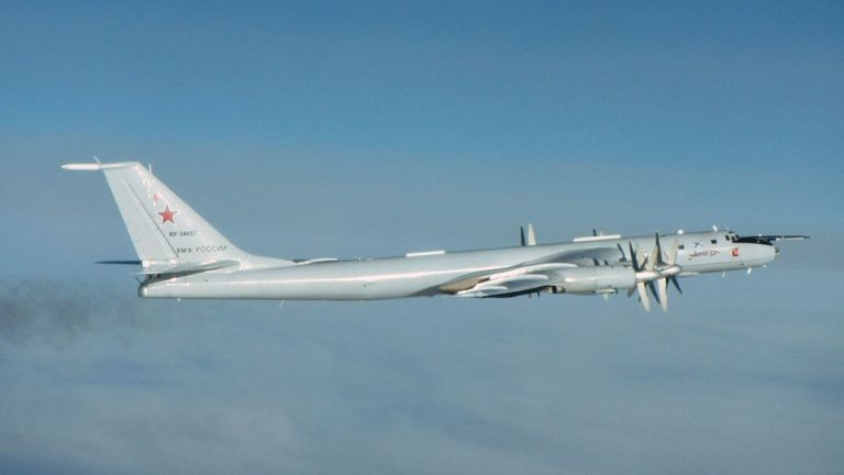 The Russian Tu-142 Bear F planes are used in anti-submarine warfare. Pic: Ministry of Defence