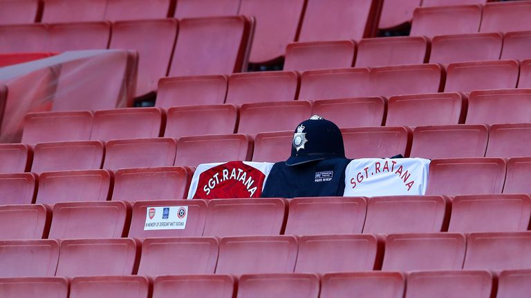Arsenal make a memorial for Sergeant Ratana during the Premier League match at the Emirates Stadium,…