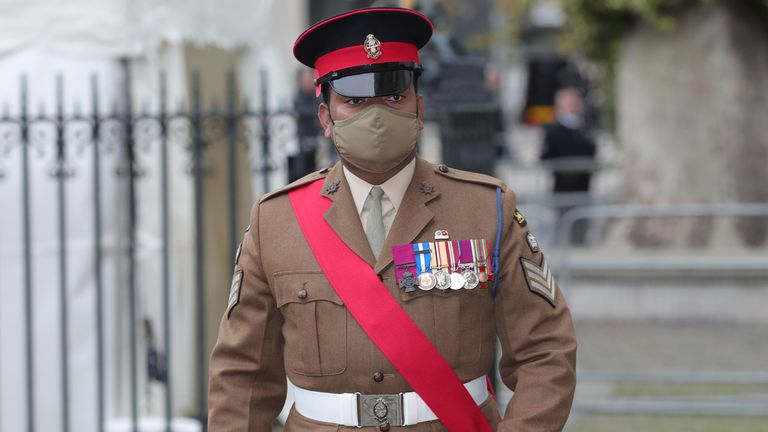Johnson Beharry, who received the Victoria Cross, is seen arriving at Westminster Abbey on Wednesday