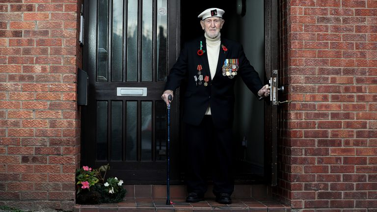 Malcolm Clerc, 94, who joined the Navy at 15, is pictured outside his home in Knutsford, Cheshire