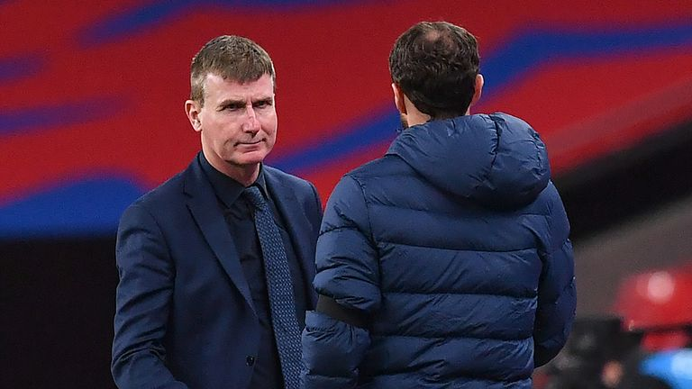 Republic of Ireland manager Stephen Kenny (left) and England manager Gareth Southgate