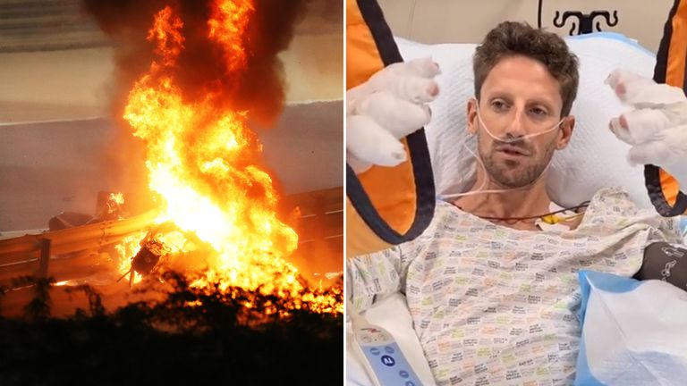 Romain Grosjean speaks from his hospital bed after surviving a horror crash at the Bahrain GP