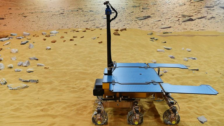 TOPSHOT - A picture shows a working prototype of the newly named Rosalind Franklin ExoMars rover at the Airbus Defence and Space facility in Stevenage, north of London on February 7, 2019. (Photo by BEN STANSALL / AFP) (Photo by BEN STANSALL/AFP via Getty Images)