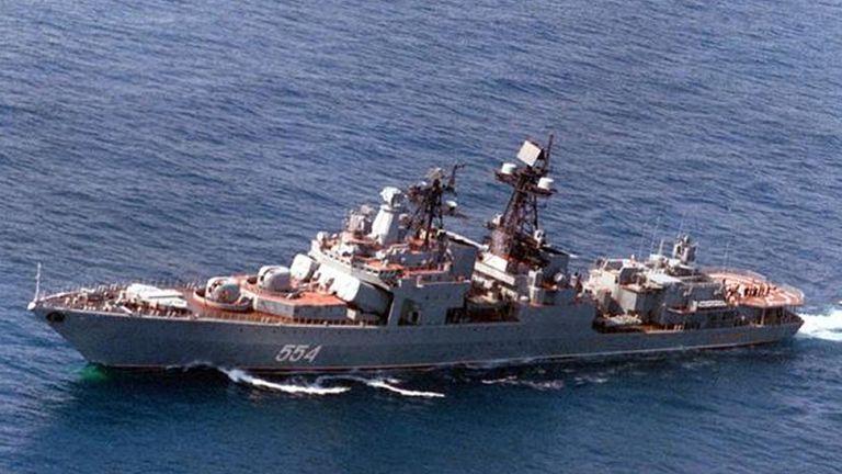 The Russian naval anti-submarine destroyer Admiral Vinogradov. File pic