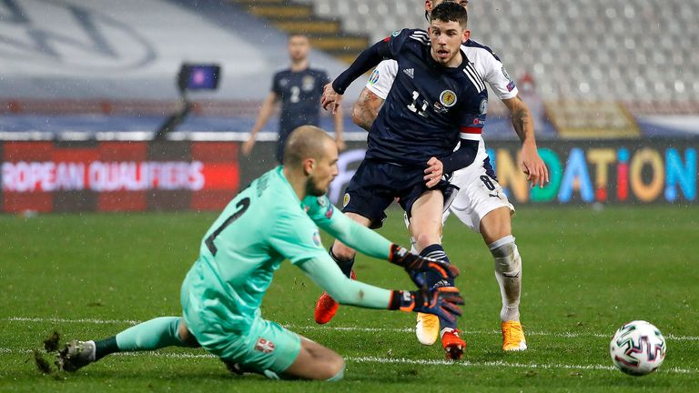 Ryan Christie of Scotland has a shot saved during the UEFA EURO 2020 Play-Off Final between Serbia and Scotland at Rajko Mitic Stadium on November 12, 2020 in Belgrade, Serbia