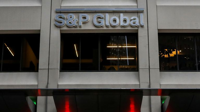 The S&P Global logo is displayed on its offices in the financial district in New York City, U.S., December 13, 2018
