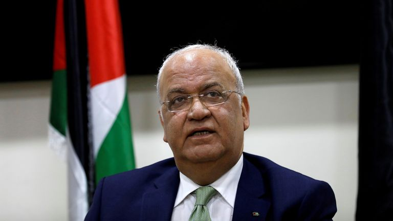 The 65-year-old had been a spokesman for the Palestinians for more than three decades