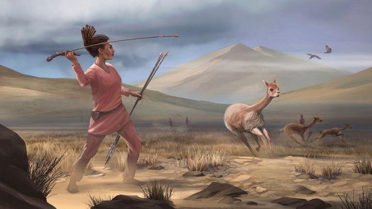 Undated handout issued by University of California, Davis and the journal Science Advances of illustration a female hunter who may have appeared in Peru around 9,000 years ago.