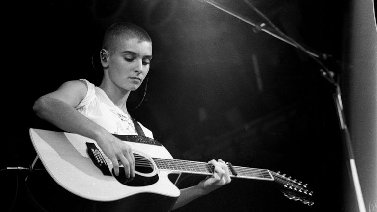 Sinead O'Connor performs on stage at Glastonbury , United Kingdom, 1990