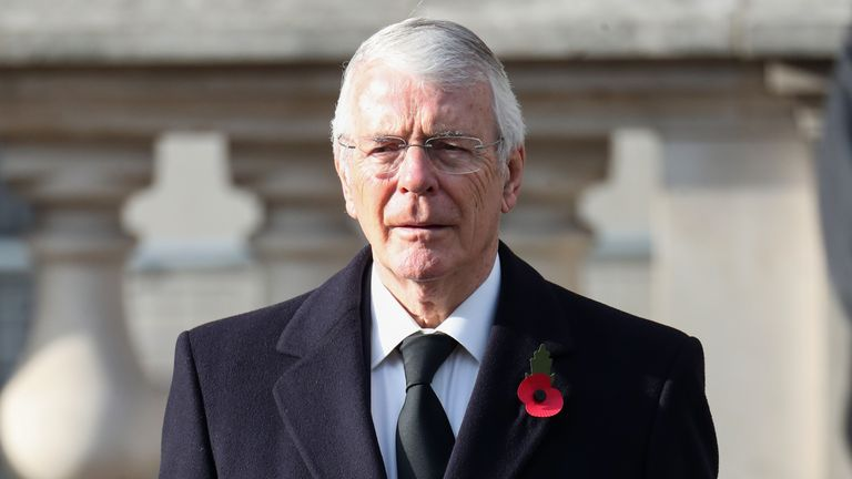 Former prime minister John Major during the National Service of Remembrance at the Cenotaph, in Whitehall, London