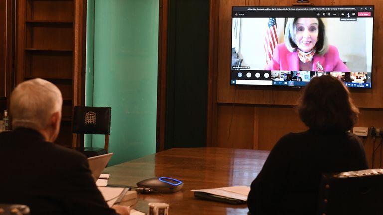 Commons Speaker Sir Lindsay Hoyle speaks to Nancy Pelosi by videolink. Pic: UK Parliament