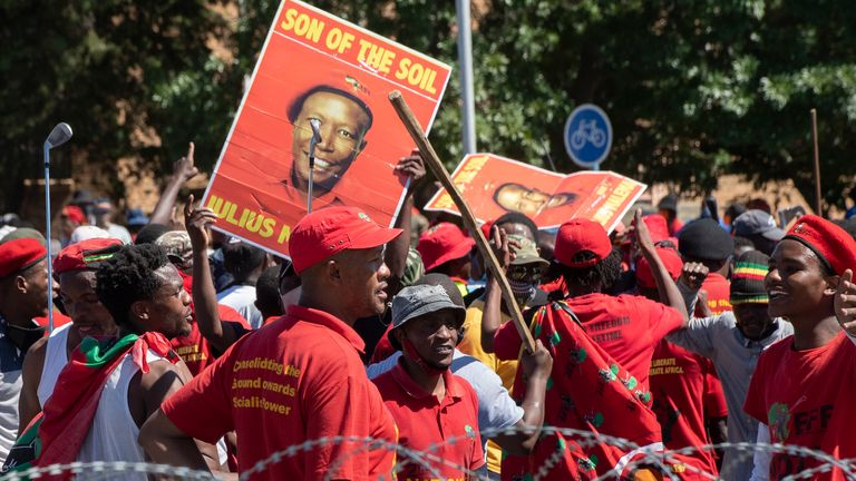 The protest wasorganised by Economic Freedom Fighters (EFF)