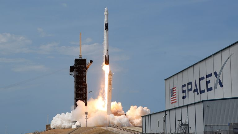 A SpaceX Falcon 9 rocket and Crew Dragon spacecraft carrying NASA astronauts lifts off i May, 2020. File Photo