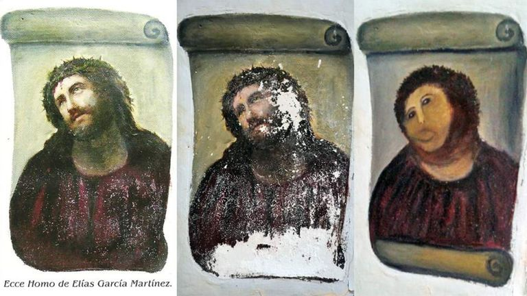 Cecilia Gimenez's attempt to restore a fresco of Jesus in 2012 became known as 'Monkey Christ'