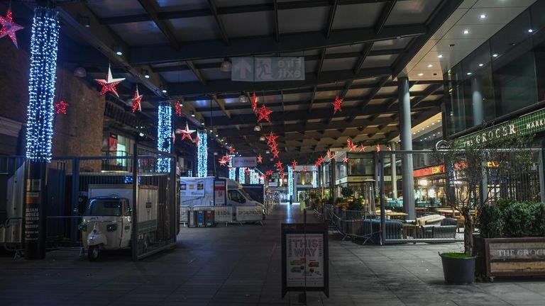 A deserted Spitalfields market - a hotspot for bars and restaurants - during lockdown 2.0