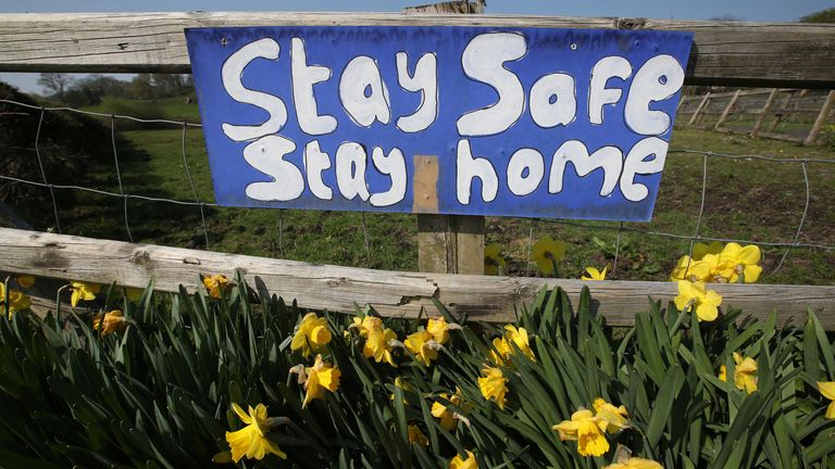 A sign is seen on a fence above daffodils in Borth, Wales
