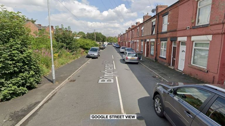 Police were called to Birchenall Street in Moston on bonfire night. Pic: Google Street View
