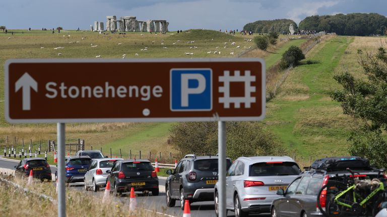 Traffic builds up on the A303 near Stonehenge in Wiltshire before the August Bank Holiday.