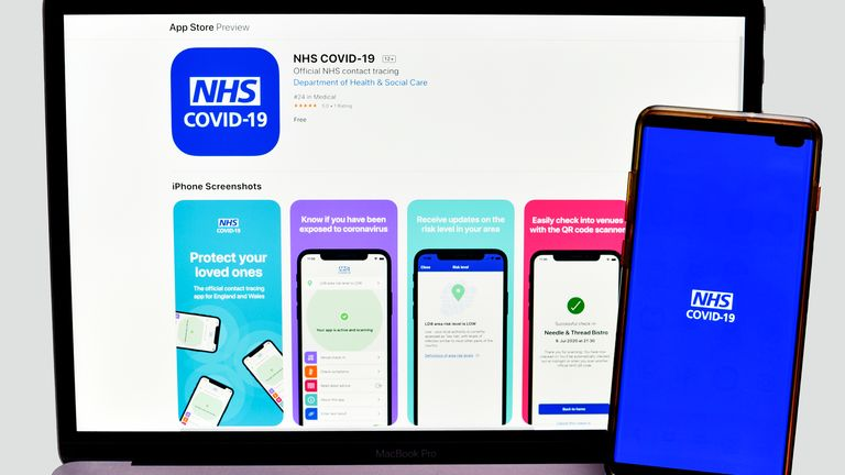 In this photo illustration the NHS Test and Trace app which has been launched in England and Wales is displayed on a smartphone with a laptop on the background. People have been urged to download the long-delayed�Covid-19�contact tracing software. (Photo by Dave Rushen / SOPA Images/Sipa USA)