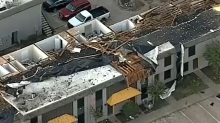 Damage to buildings seen from above after storm hits Texas