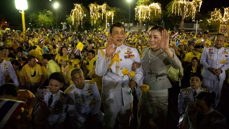 The Thai king and queen met supporters outside the Grand Royal Palace in Bangkok on 1 November