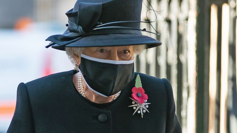 The Queen wore the mask as she visited Westminster Abbey on Wednesday