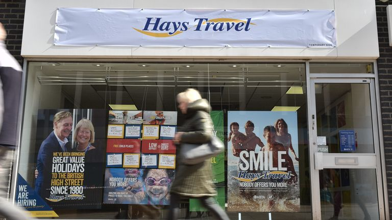 The firm bought all 555 Thomas Cook stores and reopened them under the Hays Travel banner