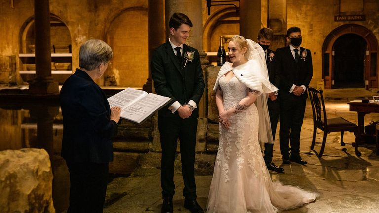 Mr and Mrs White-Christmas got married at the Roman Baths in Bath