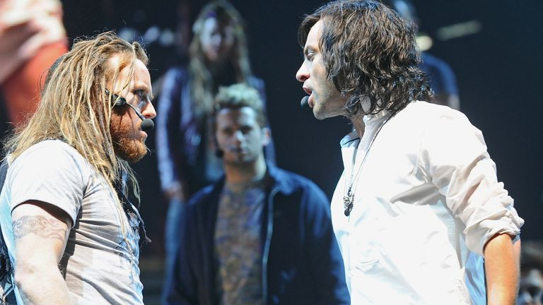 Tim Minchin as Judas, Ben Forster as Jesus attend the photocall for 'Jesus Christ Superstar' on September 17, 2012 in London, England