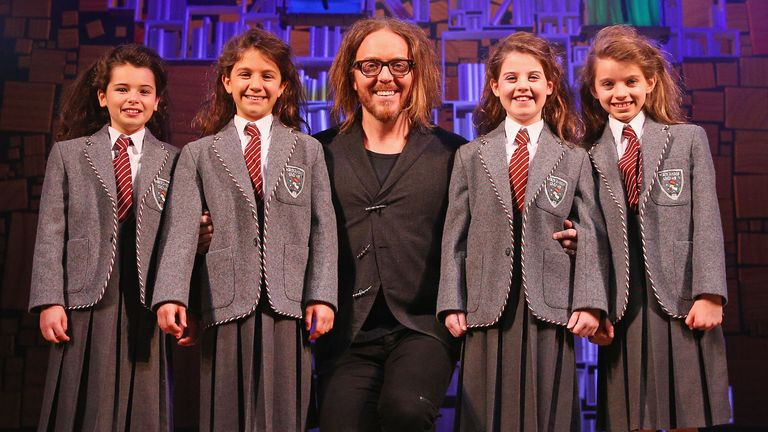 Tim Minchin and Matilda stars at the Matilda The Musical media call at Princess Theatre on March 16, 2016 in Melbourne, Australia