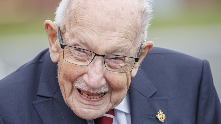 Captain Sir Tom Moore, raised more than £32m for the NHS