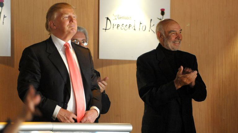 "Donald Trump with Sean Connery walks the runway at the 8th annual ""Dressed To Kilt"" Charity Fashion Show presented by Glenfiddich at M2 Ultra Lounge on April 5, 2010 in New York City."