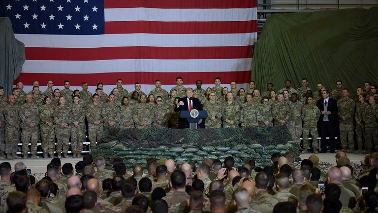 President Trump meets US troops in Afghanistan in November 2019