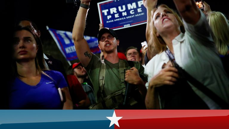 Some of the Trump supporters who turned out to protest were armed with rifles