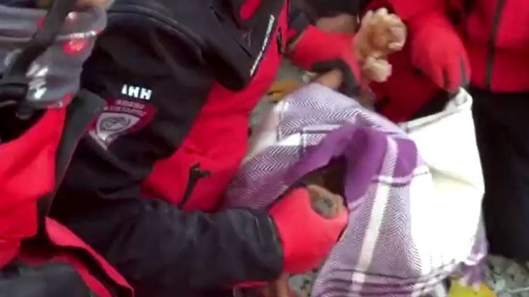 A 16-year-old girl's pet dog, Fistik, was also pulled from the rubble