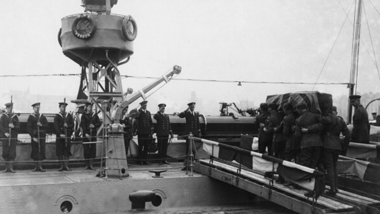 The coffin of the Unknown Warrior is carried aboard HMS Verdun at Boulogne