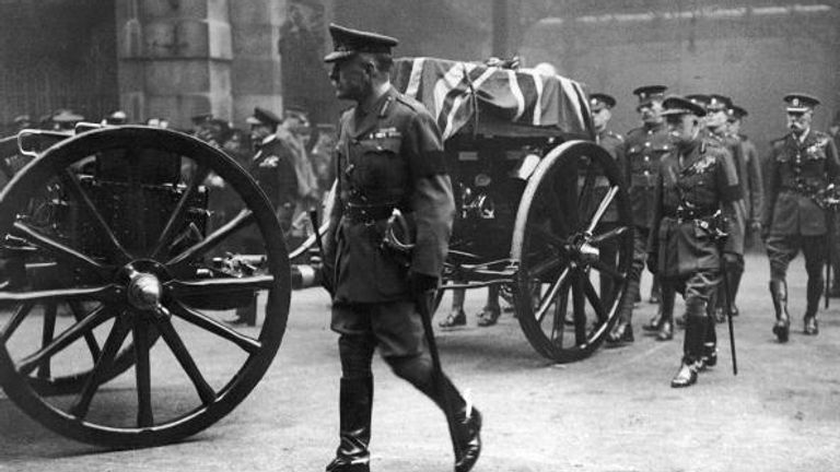 Field Marshal Haig with the coffin of the Unknown Warrior in London on 11 November 1920