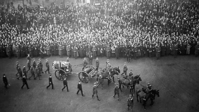 The coffin was carried in procession through London