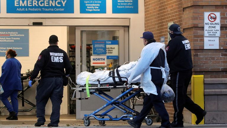 A patient arrives at Maimonides Medical Center, as the spread of COVID-19 continues, in Brooklyn, New York