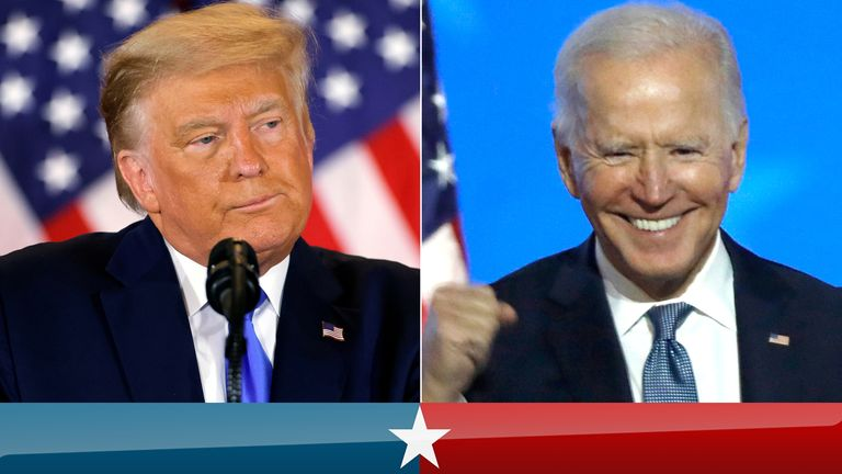Donald Trump and Joe Biden. Pics: Reuters/Carolyn Cole/Los Angeles Times/Shutterstock