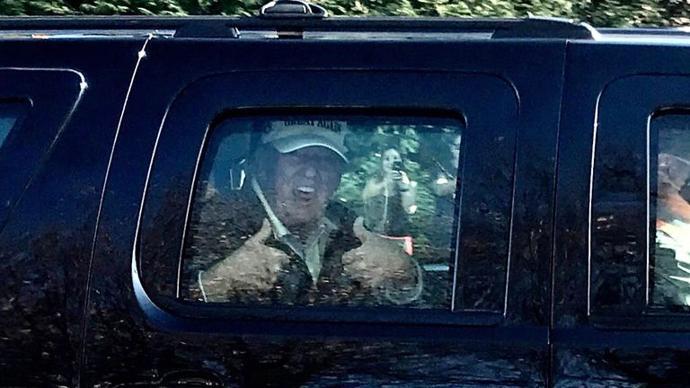 Donald Trump leaving his golf club in Virginia on Sunday
