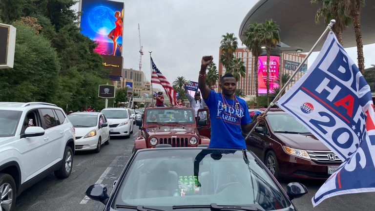 A Biden supporter stands in a car in Las Vegas following the US 2020 Presidential Election. Pic: provided by Stuart Ramsay for eyewitness piece
